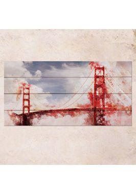 Панно на дереве Golden Gate Bridge