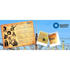 """Металлический календарь с магнитным курсором для компании """"Quadro Electric"""""""