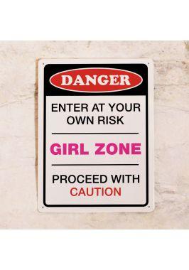 Табличка на дверь Danger! GIRL ZONE