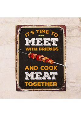 Табличка Cook meat together