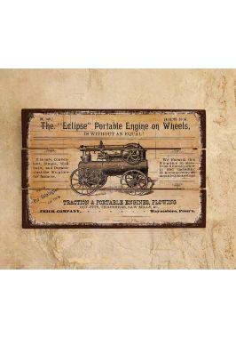 Деревянное панно Portable engine on wheels