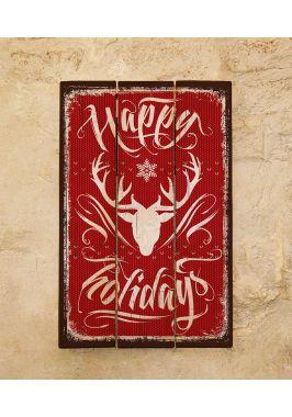 Картина из дерева Happy holidays