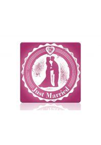 Свадебная табличка Молодожены пурпур
