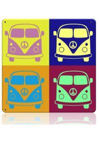 Металлическая табличка  Поп арт автобус