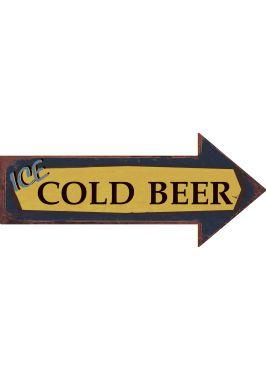 Металлический указатель  Ice cold beer