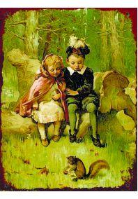 Дети и белочка