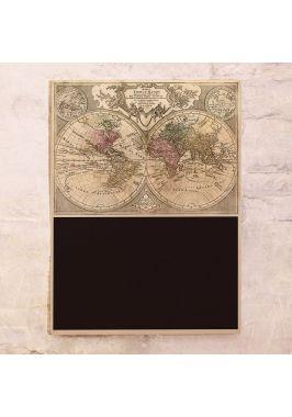 Старинная карта мира с полем для записей