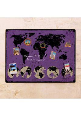 Фиолетовая карта с потертостями  60х80 см