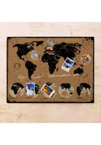 Кофейная карта с потертостями  60х80 см