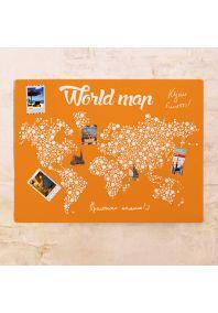 Оранжевая карта мира  60х80 см