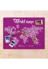 Фиолетовая карта мира  60х80 см
