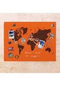 Оранжевая контурная карта мира  60х80 см