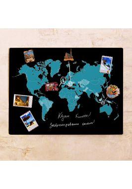 Черно-голубая контурная карта мира  60х80 см