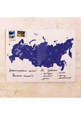 Грифельно-маркерная контурная карта России  60х80 см