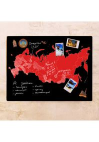 Черно-красная контурная карта России  60х80 см