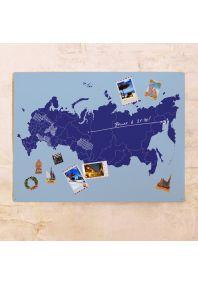 Голубая гонтурная карта России  60х80 см