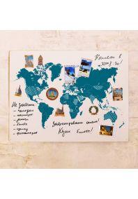 Синяя маркерно-грифельная карта  60х80 см