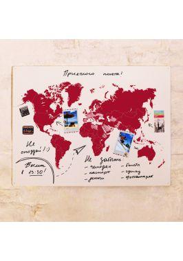 Бордовая маркерно-грифельная карта  60х80 см