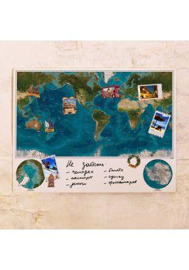 Физическая маркерная карта мира  60х80 см