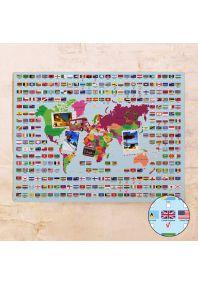 Карта с флагами мира  60х80 см