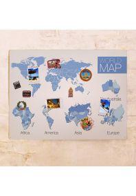 Декоративная голубая карта с континентами  60х80 см