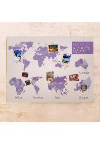 Декоративная фиолетовая карта с континентами  60х80 см