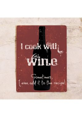 Жестяная табличка Cook with wine