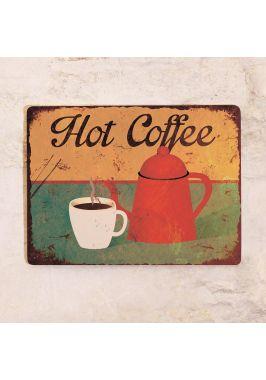 Жестяная табличка Горячий кофе