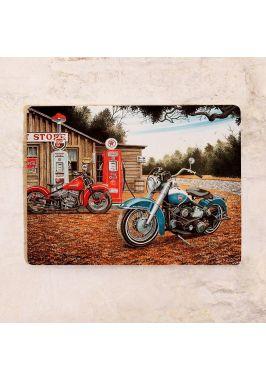 Жестяная табличка для гаража Винтажный мотоцикл