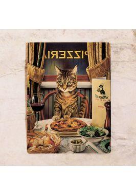 Жестяная табличка Кот за ужином