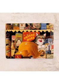 Металлическая табличка  Кот на кухне