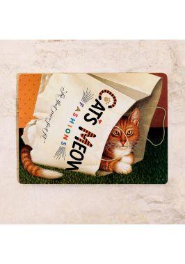 Жестяная табличка Кот в пакете