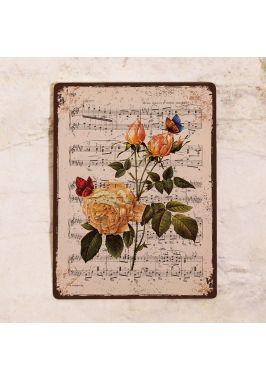 Декоративная табличка Розы, бабочки и ноты