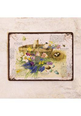 Жестяная табличка Весенняя корзинка