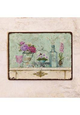 Жестяная табличка Пастельный винтажный натюрморт