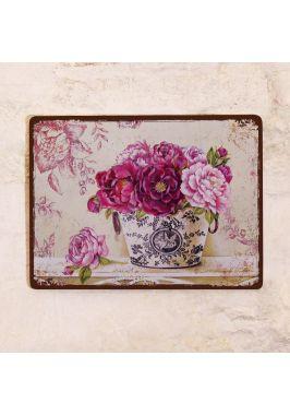 Декоративная табличка Букет пионов
