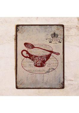 Жестяная табличка Винтажная чайная чашка
