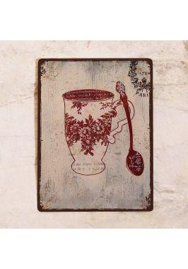 Табличка  Винтажная чашка с цветами