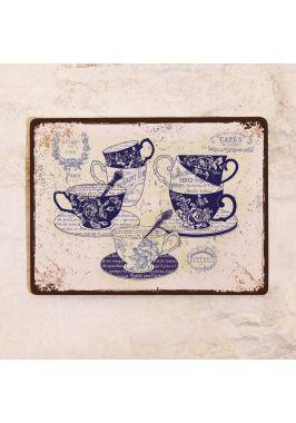 Жестяная табличка Винтажная посуда