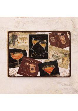 Декоративная табличка Вино и коктейли Cheers!