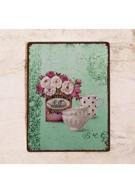 Табличка  Бирюзовый натюрморт с розами