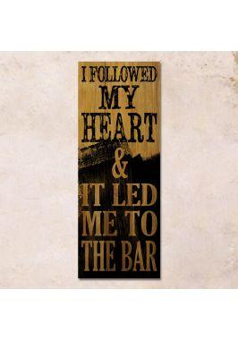 Дубовое панно I followed my heart