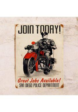 Жестяная табличка Join Police department