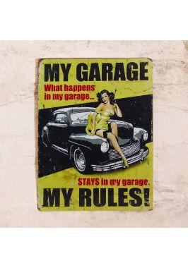 Жестяная табличка Мой гараж - мои правила