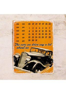 Жестяной календарь Retro car
