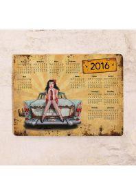 Календарь на 2016 г.  Retro girl