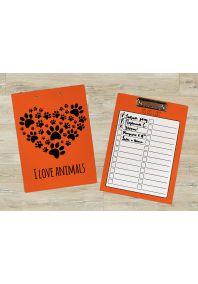 Планшет для бумаг I LOVE ANIMALS