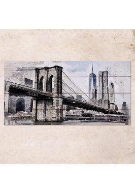 Панно на дереве Brooklyn Bridge