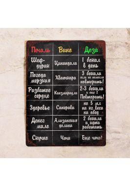 Табличка Винотерапия