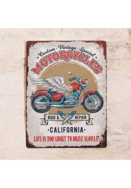 Жестяная табличка Motocycles California